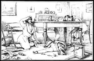 The effects of liquid chloroform on Sir J. Y. Simpson and his friends.  ca. 1840 Chloroform: Not for candle parties anymore.